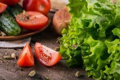 Tomate, concombre, laitue, baguette et épices photo libre de droits