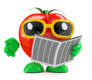Tomate 3d liest die Zeitung Stockbild