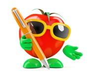 Tomate 3d mit einem Stift Lizenzfreies Stockbild