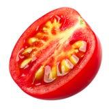 Tomate de cereja meio, trajetos fotografia de stock royalty free