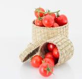 Tomate de cereza en caja y rollo traviesos Imagenes de archivo