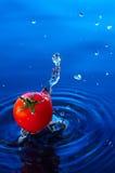 Tomate de cereza en water2 Foto de archivo libre de regalías