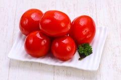 Tomate de rouge de conserves au vinaigre Images libres de droits
