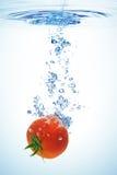 Tomate, die im Wasser spritzt Stockbilder