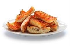 Tomate do engodo da bandeja, pão espanhol do tomate Fotografia de Stock Royalty Free