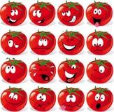 Tomate dos desenhos animados com muitas expressões Fotografia de Stock Royalty Free