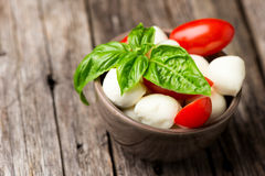 Tomate e mussarela com as folhas da manjericão na bacia Fotografia de Stock Royalty Free