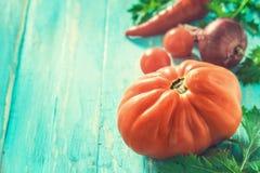 Tomate e outros vegetais no fundo ciano claro imagens de stock royalty free
