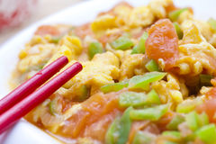 Tomate e ovo fritados Stir Foto de Stock Royalty Free