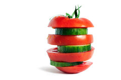 Tomate e pepino maduros Foto de Stock Royalty Free