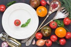 Tomate e vegetal coloridos frescos da variedade para a salada fotografia de stock royalty free