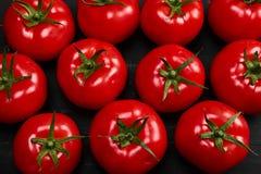 Tomate em um fundo preto com gotas realísticas da reflexão e da água Tomates frescos Fotografia de Stock Royalty Free