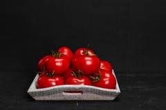 Tomate em um fundo preto com gotas realísticas da reflexão e da água Tomates frescos Fotos de Stock Royalty Free