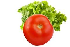 tomate entière avec de la salade d'isolement sur le fond blanc Images stock