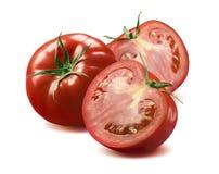 Tomate entière et deux moitiés d'isolement sur le fond blanc Image libre de droits