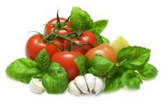 Tomate et basilic Photo stock