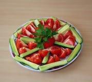 Tomate et concombre Photos libres de droits
