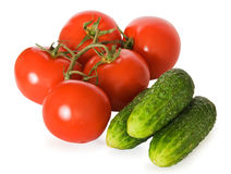 Tomate et concombre Images libres de droits