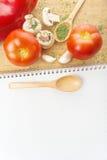 Tomate et Paprika Recipes de champignon de persil d'ail Images stock
