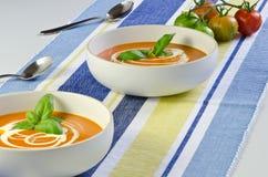 Tomate et potage de basilic Photographie stock libre de droits