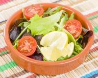 Tomate et salade de feuilles Photos stock