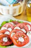 Tomate et salade de mozarella Photographie stock libre de droits