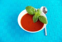 Tomate et soupe à basilic décorée des feuilles de basilic Photo libre de droits