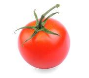 Tomate fraîche, mûre et juteuse d'un jardin, d'isolement sur un fond blanc Tomate rouge saine et d'avantage avec la feuille Photos libres de droits