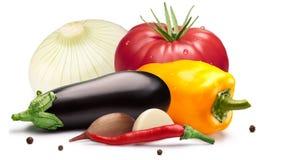 Tomate, grüner Pfeffer, Aubergine für das Einmachen, Wege Lizenzfreies Stockfoto