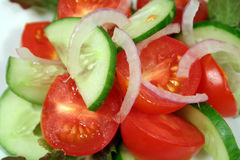 Tomate, Gurke und Zwiebel Lizenzfreies Stockbild