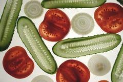 Tomate, Gurke, Zwiebel Stockfotos