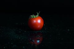 Tomate isolado no fundo preto Foto de Stock Royalty Free