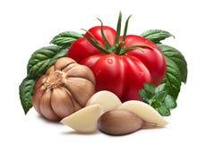 Tomate, Knoblauch, Basilikum, Wege lizenzfreie stockfotos