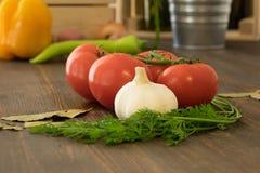 Tomate, Knoblauch und Grüns Stockfoto