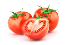 Tomate mit grünem Blatt lizenzfreies stockbild