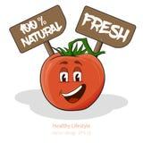 Tomate mit Karikaturblick mit Gesicht, Zeichen Stockfotos