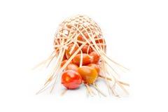 Tomate no busket de bambu Imagens de Stock