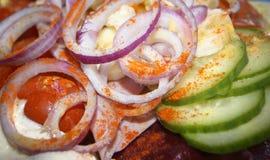Tomate Paprika Salad del pepino de la cebolla Foto de archivo