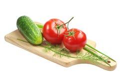 Tomate, pepino, aneto e cebolas verdes Foto de Stock Royalty Free