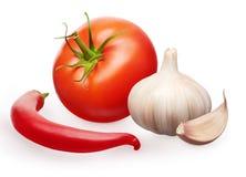 Tomate rojo, ajo con el clavo y verduras de la pimienta de chile Imagen de archivo
