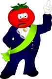 Tomate rojo del carácter en traje Imágenes de archivo libres de regalías