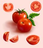 Tomate rojo realista en diverso corte Foto de archivo libre de regalías