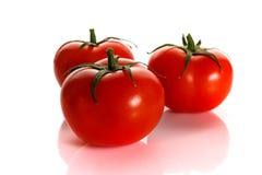 Tomate rouge avec la poignée d'isolement sur le fond blanc Photos stock