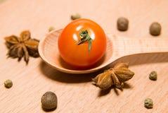 Tomate rouge en anis de cuillère, de poivre et d'étoile Image stock