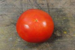 Tomate rouge sur une texture en bois Photos stock