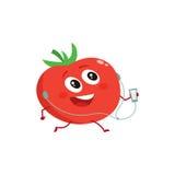 Tomate running vermelho maduro com jogador e fones de ouvido de música ilustração royalty free