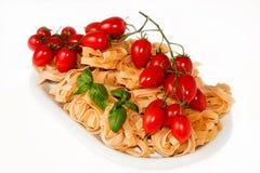 Tomate und Basilikumteigwaren Lizenzfreies Stockfoto