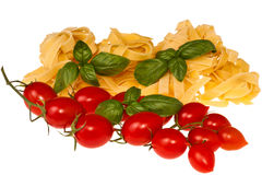 Tomate und Basilikumteigwaren Stockbild