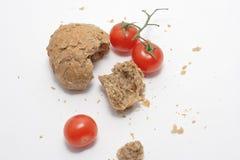 Tomate und Brot Stockfoto