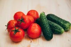 Tomate und Gurke Stockfoto